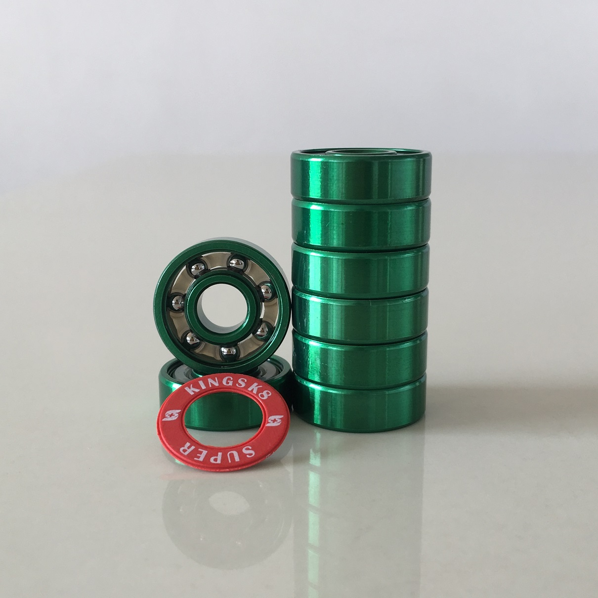 Kingsk8 Green Anodized Super Skateboard Bearings